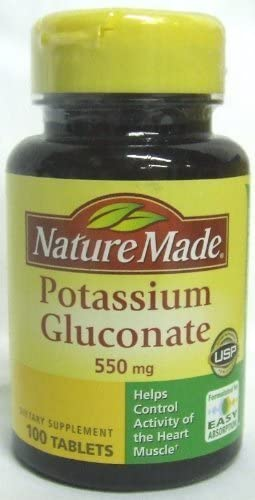 (Pack of 5) Nature Made Potassium Gluconate 550 Mg Tablets