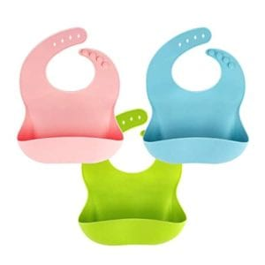 3 Pack Silicone Baby Bib for Babies & Toddlers (6-72 Months)
