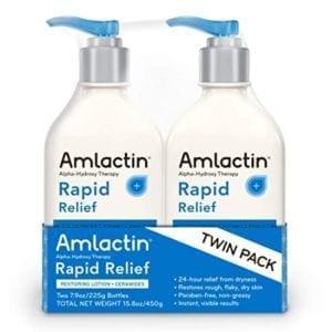 AmLactin Rapid Relief Restoring Lotion + Ceramides Twin Pack