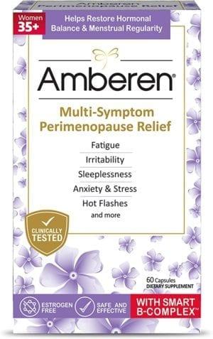 Amberen Peri: Safe Multi-Symptom Perimenopause Relief   Helps Restore Menstrual Regularity & Hormonal Balance   Relieves Fatigue